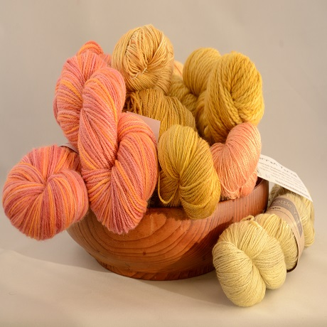 Orange and gold yarns