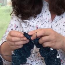 Hands of a knitter