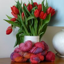 Colour in yarn and flowers.