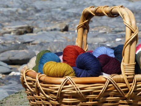 Frangipani Guernsey 5ply yarn on the Beach