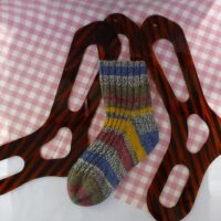 Sock shape blockers for hand knit socks.