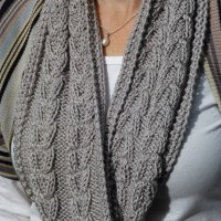 Silver grey hand knitted cowl