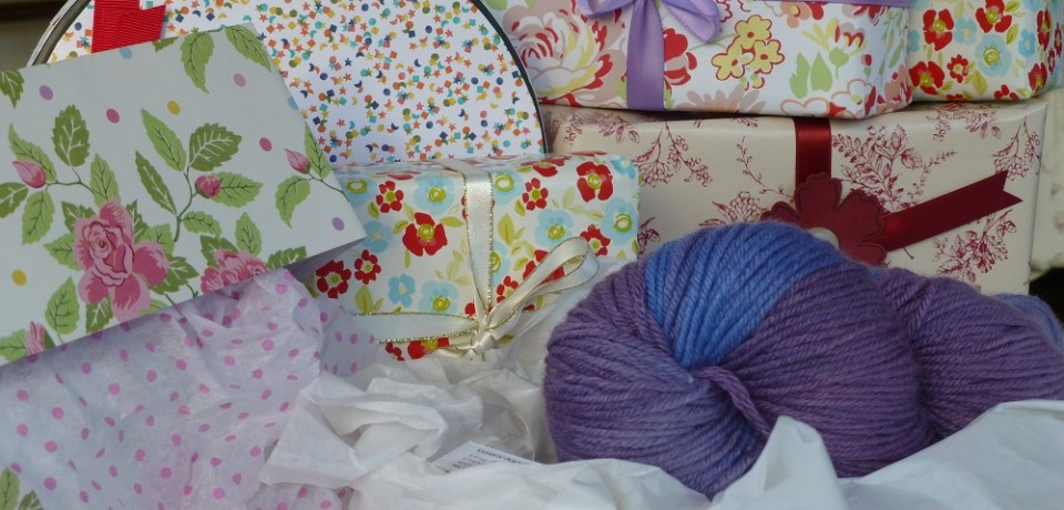 Collection of gift boxes and yarn