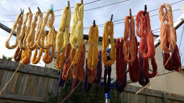 natural Dyed yarns drying in the sun