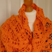 Orange Cotton Crochet Shawl